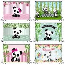 Laeacco fotografia urodzinowa tła różowe białe paski kwiaty Panda bambusy fotograficzne tła Baby Shower Photocall