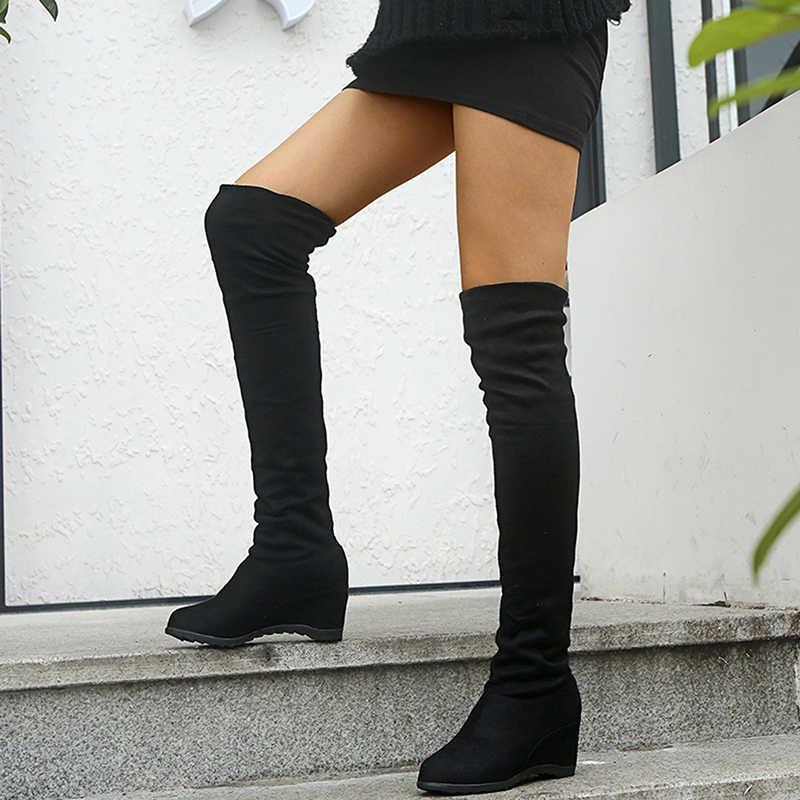 Giày Mới Giày Bốt Nữ Đen Trên Đầu Gối Giày Gợi Cảm Nữ Thu Đông Nữ Đùi Cao Cấp Tăng Thun Co Giãn Giày Đế