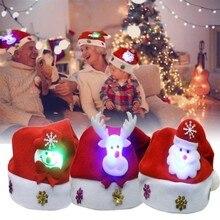 Светодиодный светильник рождественские шапки Санта-Клауса детские шапки для женщин мужчин мальчиков девочек кепки Orna мужские ts украшения для Рождественский реквизит для вечеринок