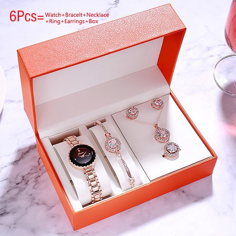 Fashion 2020 Women Watches Bracelet Set Quartz Wrist Watch Waterproof Ladies Watches Diamond Clock Steel Strap Female Wristwatch