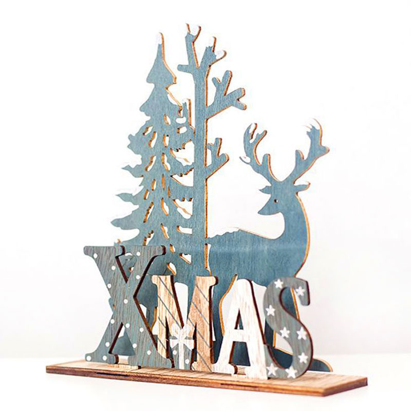 2020 New Year Natural Xmas Elk Wood Craft Christmas Tree Ornament Noel Christmas Decoration for Home Wooden Pendant Navidad Gift 1