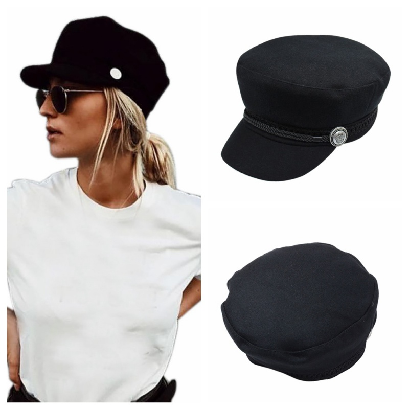 Fashion Black Hat Winter Cap Wool Hat Women Button Cap Casual Street Wear Rope Flat Cap