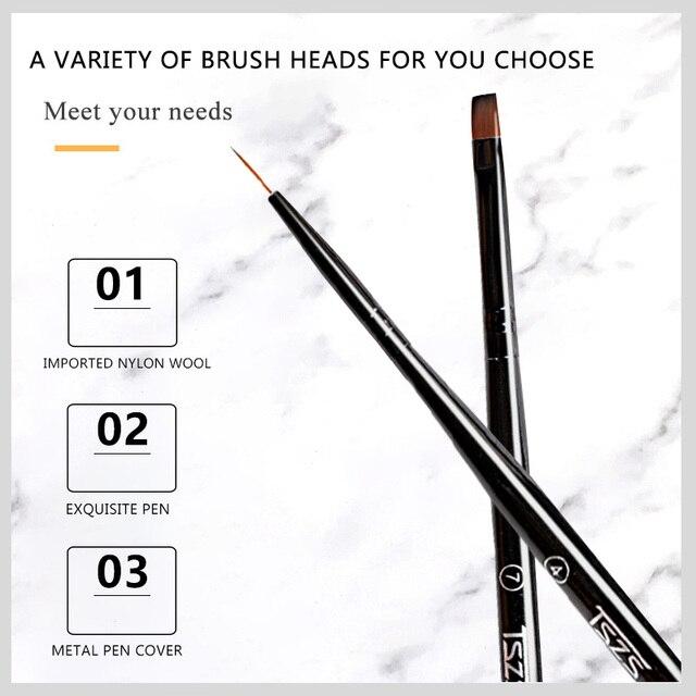 1Pcs/lot Nail Art Lines Painting Black Pen Brush Striper Daisy Acrylic Fan Gradient Shading UV Gel Polish Tips Flower 4