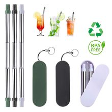 Portable Drinking Reusable Metal Straws Stainless Steel With Storage Case Rope Bar Beer Party Kitchen Eco Friendly Accessories(China)