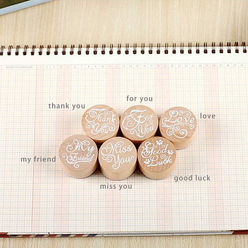 DIY بها بنفسك Vintage زهرة نمط زهرة مستديرة خشبية المطاط ختم سجل القصاصات أحبك شكرا لك ختم الرسالة