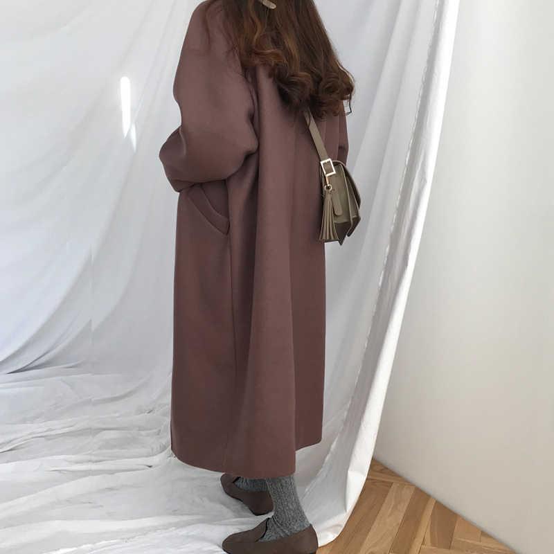 Женское модное однобортное высококачественное утепленное шерстяное пальто большого размера Ретро женское Простое Элегантное Casaco Feminino