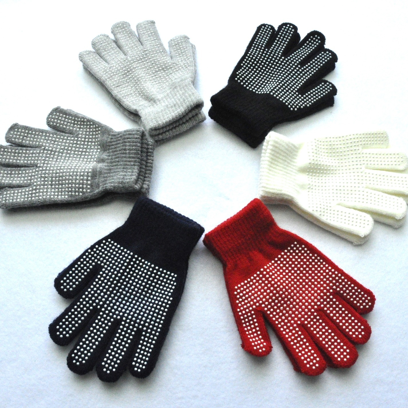 Solid Knitted Gloves For Children Winter Outdoor Dot Particle Offset Printing Anti-slip Warm Mittens 5-15 Years Old Students
