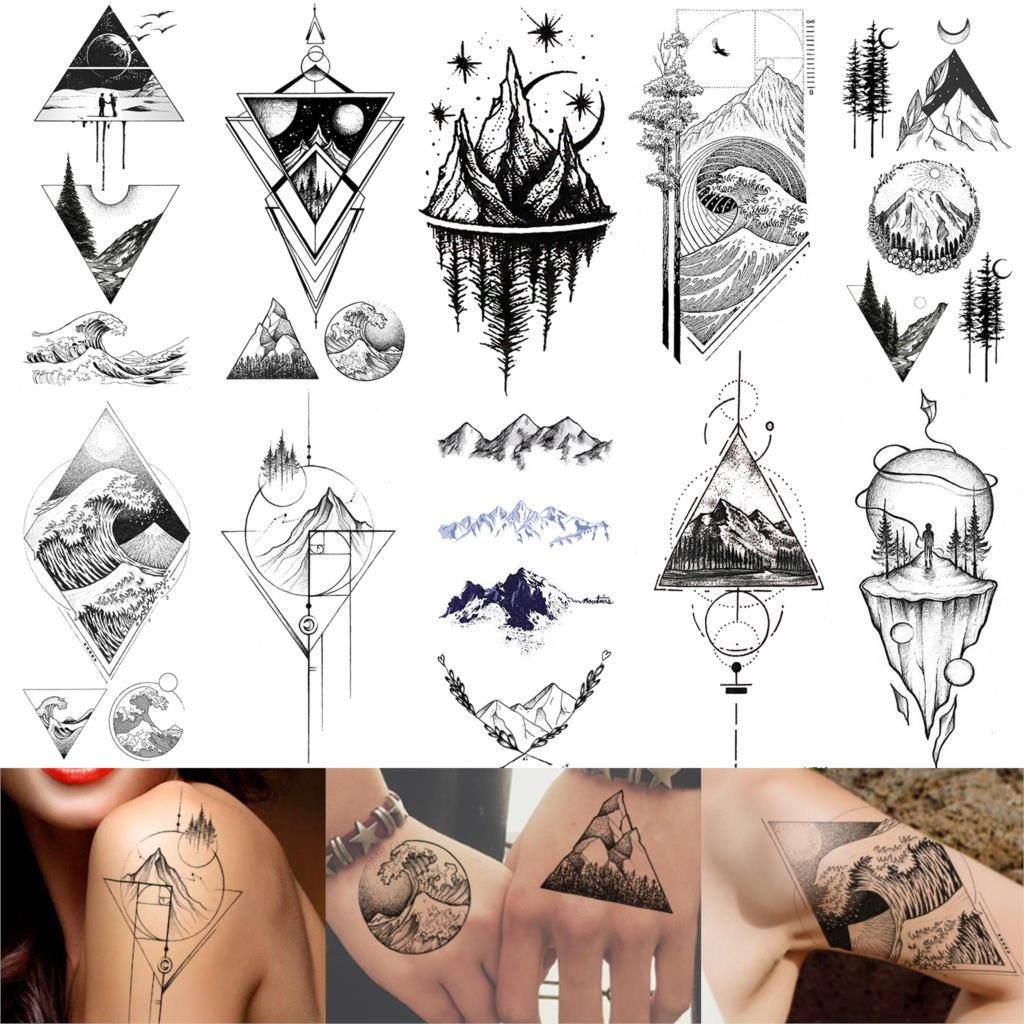 Mountain Temporary Tattoos Triangle Marine Sea Wave Body Art Arm Legs Water Transfer Fake Tattoo Forest Sticker Sheets