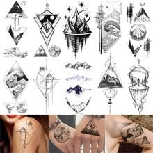 Горные Временные татуировки, треугольные морские волны, искусство тела, искусственная татуировка