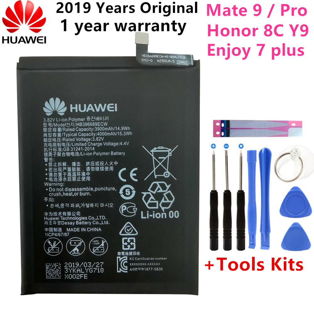 Hua Wei Original HB396689ECW 4000mAh Battery For Huawei Mate 9 Y7 Prime Y7 2017 Mate9 Pro Honor 8C Y9 2018 Version Enjoy 7 Plus