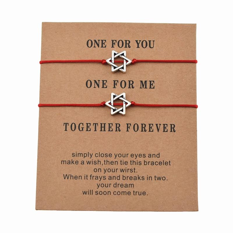 2 шт./компл. новый тренд Magen Star Of David Charm, красные браслеты на шнурке для влюбленных пар, женщин и мужчин, ювелирные изделия с желанием, подарки