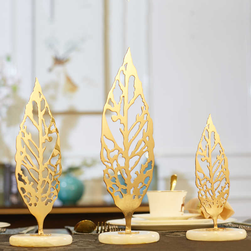 Home Decoration Accessories Golden Metal Hollow Leaves Sculpture Decor Figurine Living Room Ornament Objects Office Marble Gift Figurines Miniatures Aliexpress