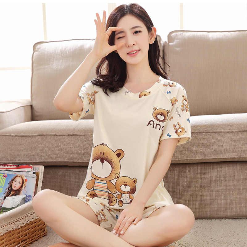 Ngắn Cho Nữ Bộ Đồ Ngủ Bộ Mùa Hè Họa Tiết Cô Gái Hoạt Hình Đồ Ngủ Mickey Pijama Nữ Pyjamas Phù Hợp Với Nữ Bộ Quần Áo 2019 Váy Ngủ S