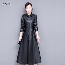 FTLZZ Neue Frauen Schaffell Echtes Leder Lange Jacke Verdicken Mantel Einreiher Leder Graben Mantel Oberbekleidung Weibliche