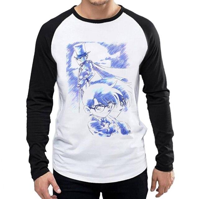 Détective Conan T-Shirt hommes mode blanc à manches longues Anime Conan T petit haut T-Shirt dessin animé à manches longues Conan vêtements