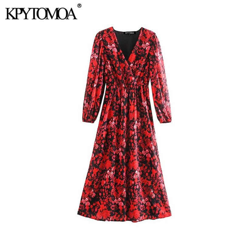 Vintage Elegant Floral Print Chiffon Midi Dress Women 2020 Fashion V Neck Long Sleeve Elastic Waist Female Dresses Vestidos