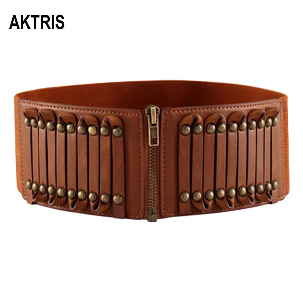 AKTRIS New Ladies Retro Brown Overcoat Decorative Leather Belts For Women Fashion Design Waistband Belt 8.0cm Width LDFC007
