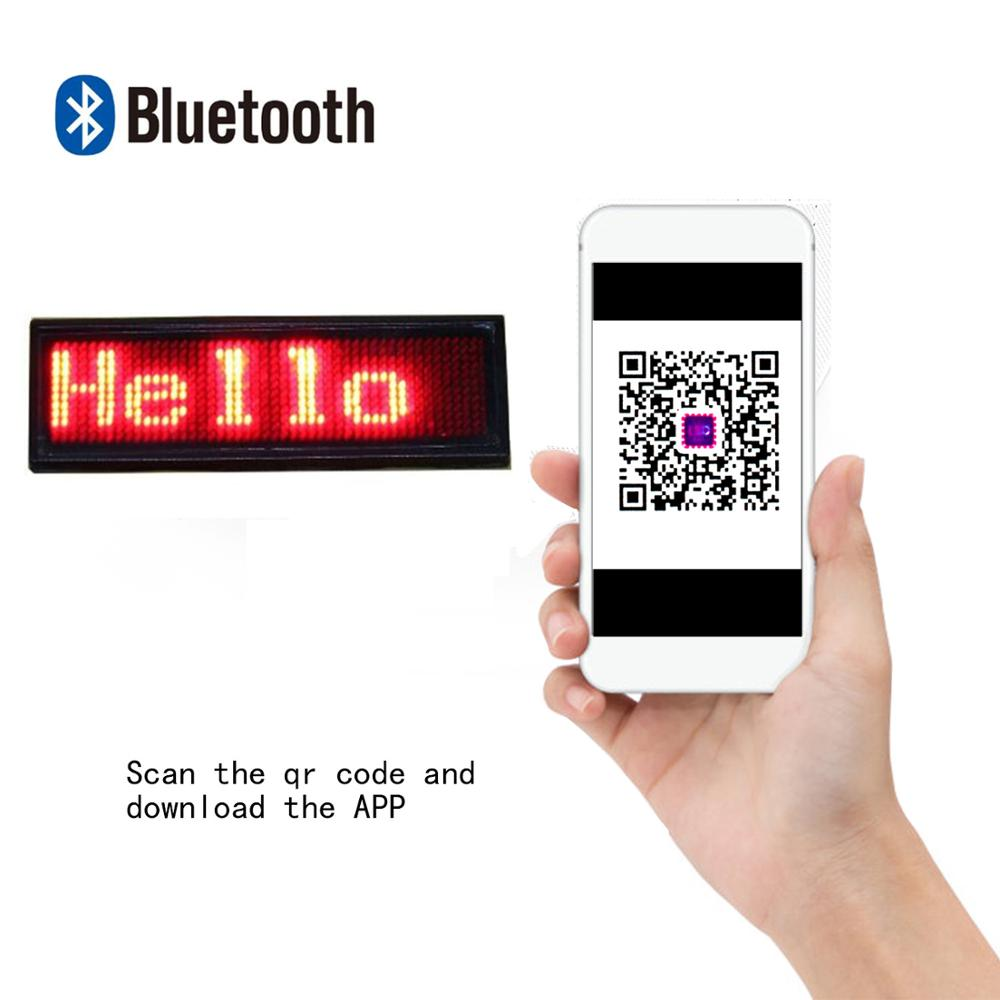 New Bluetooth Rechargeable Programming Scroll LED Display Pin Badge Tag Digital / Business Card Display Label Dropshipping