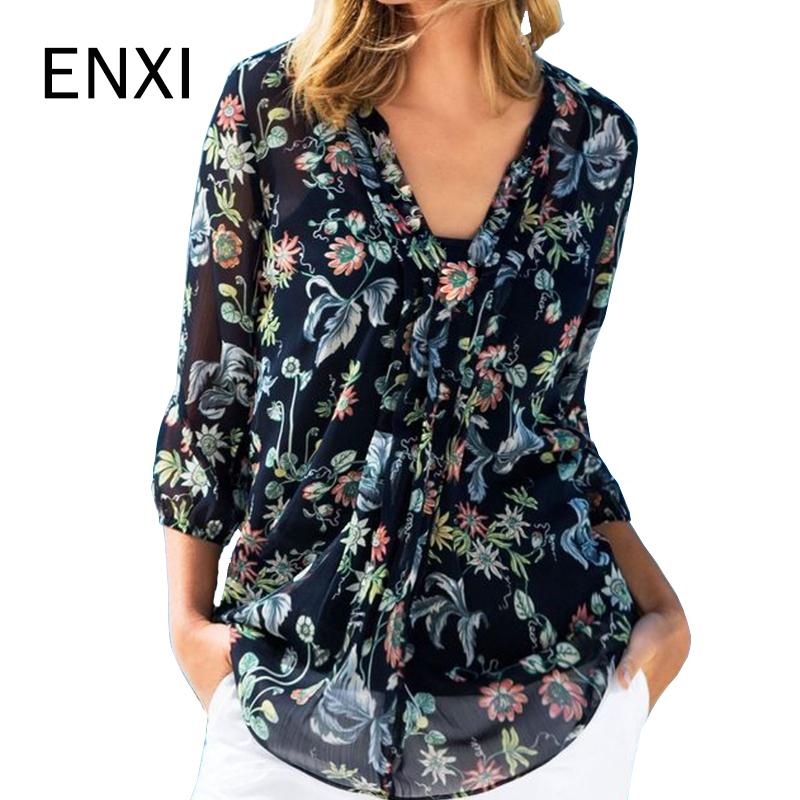 ENXI Floral Print Maternity Clothes Pregnant Women Pregnancy Tee Embarazada Fashion Chiffon T-shirt V-neck Womens Clothing