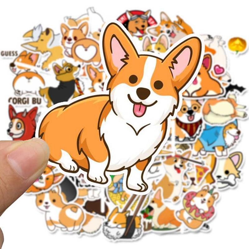 50pcs  Corgi Pembroke Cartoon Stickers Cute Animals Dog For Moto Car & Suitcase Cool Laptop Stickers Skateboard Sticker