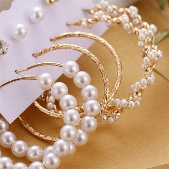 Bohemian Tassel Acrylic Earrings Set For Women Big Geometric Round Heart Pearl Rhinestones Earrings boucle doreille femme 2019 5