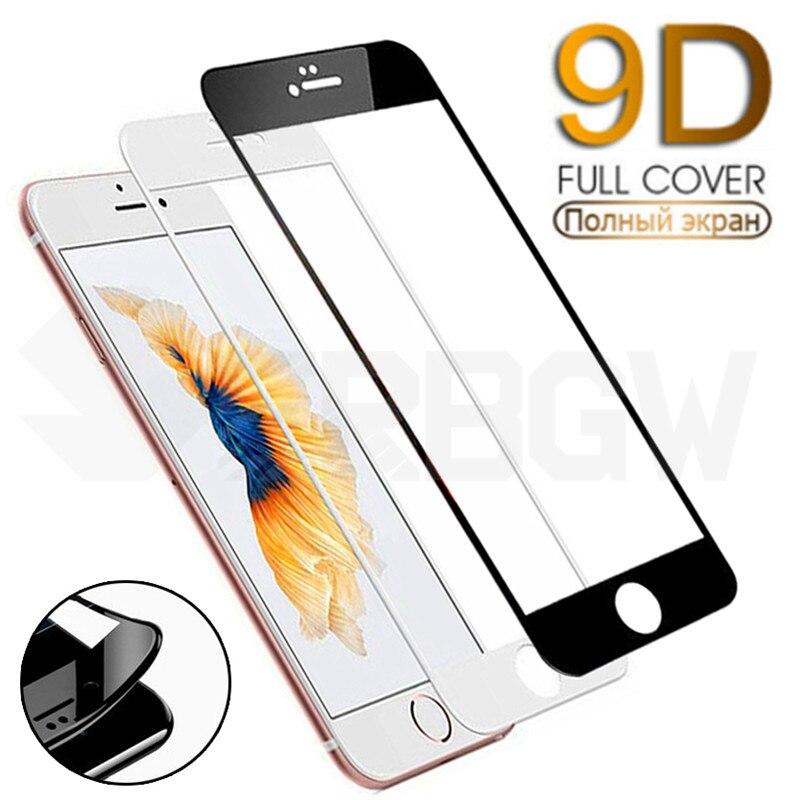 9d 곡선 가장자리 전체 커버 강화 유리에 대한 아이폰 7 8 플러스 스크린 보호 유리에 대한 아이폰 7 8 6 6 s 플러스 필름 케이스