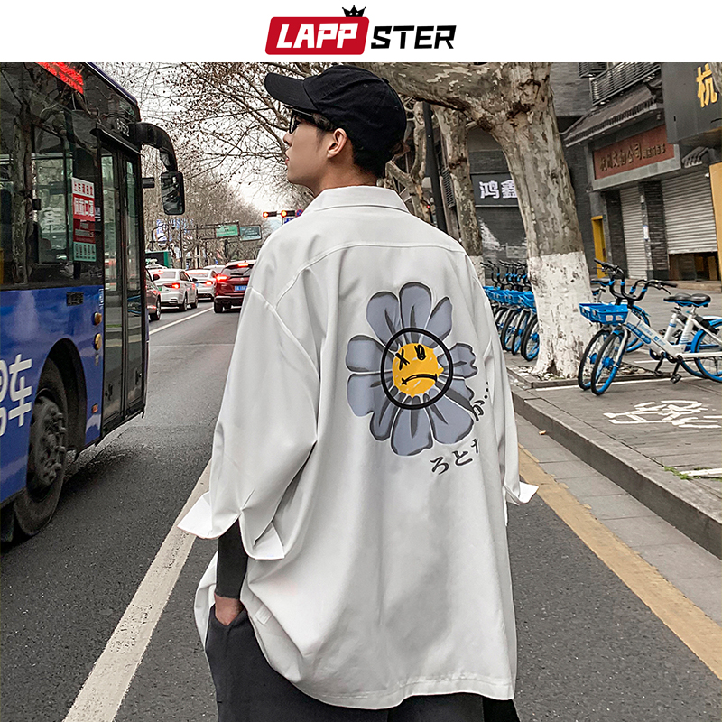LAPPSTER Men White Flower Korean Shirts 2020 Mens Half Sleeve Harajuku Black Shirt Male Vintage Casual Clothing Button Up Shirt