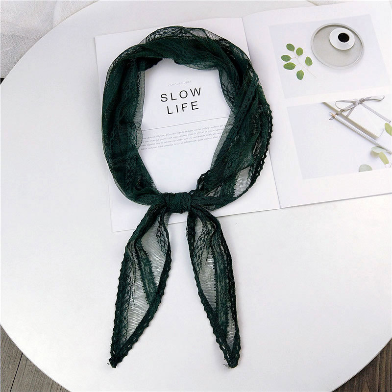 40*113cm Autumn Black White Pink Green Lace Scarf Women Stewardess Silk Neck Hair Tie Head Wrap Scarves Kerchiefs Foulard