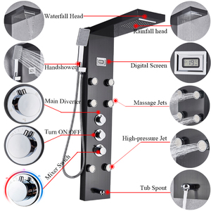 Image 3 - Black Bath Shower Thermostatic Mixer Shower Panel Rainfall Waterfall Massage Jets Shower Column  Shower Faucet Tower Shower Set