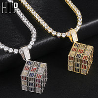Hip Hop Bling Iced Out Square Dice Copper Gold Silver Cubic Zircon Necklaces &Pendants For Men Jewelry With Tennis Chain