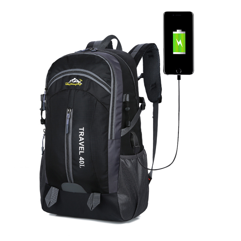 New Men Backpack USB Charging 40L Large Capacity Outdoor For Male Bag Waterproof Casual Backpacks Women Hiking Travel Backpacks