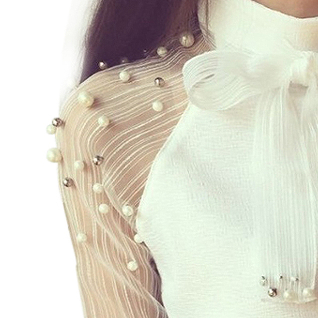 Women Style Bow Of Pearl White  Casual Chiffon Shirt Blouses Tops Tee Rk 4