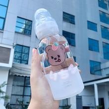Bonito menina garrafa de água de vidro moda criativa urso padrão personalidade palha copo estudante casal portátil copo de água