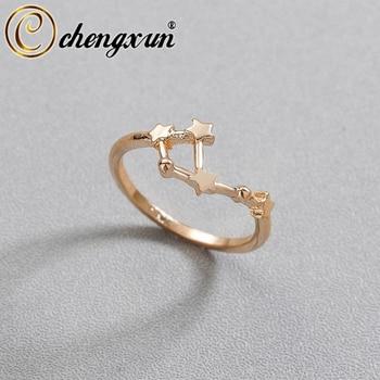 CHENGXUN Taurus Scorpio Virgo 12 Constellation Rings for Women Girls Party Fashion Pisces Star Jewelry Birthday Gift