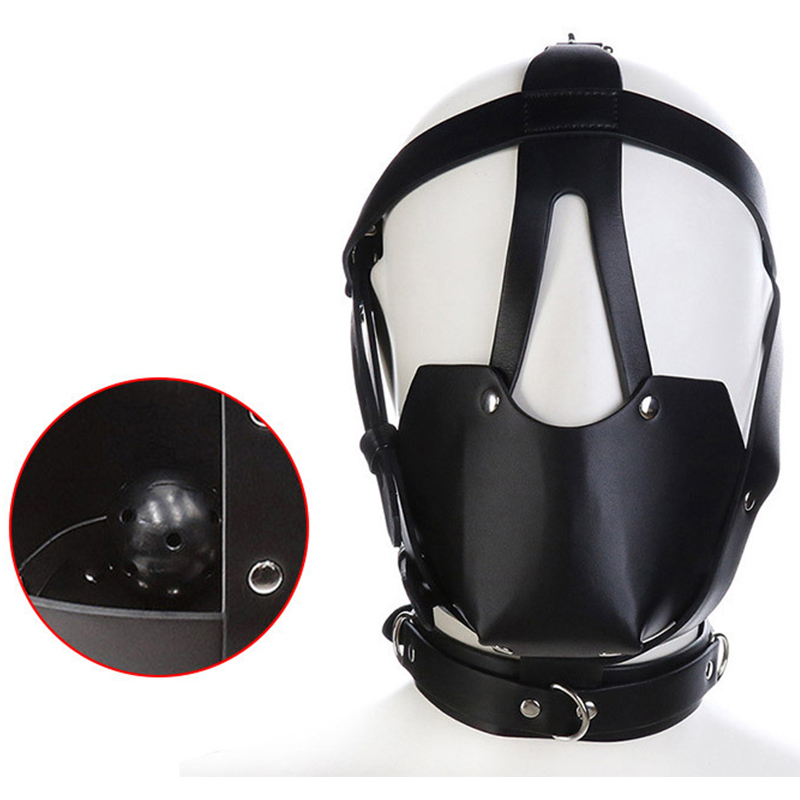 PU Leather Head Harness With Mouth Ball Gag Fetish Salve BDSM Oral Muzzle Restraints Face Mask Hood Bondage Headgear For Couples