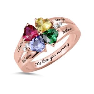 Image 5 - AILIN bague personnalisée à quatre cœurs, en pierre de naissance, avec nom gravé, en argent Sterling 925, pour mamans femmes