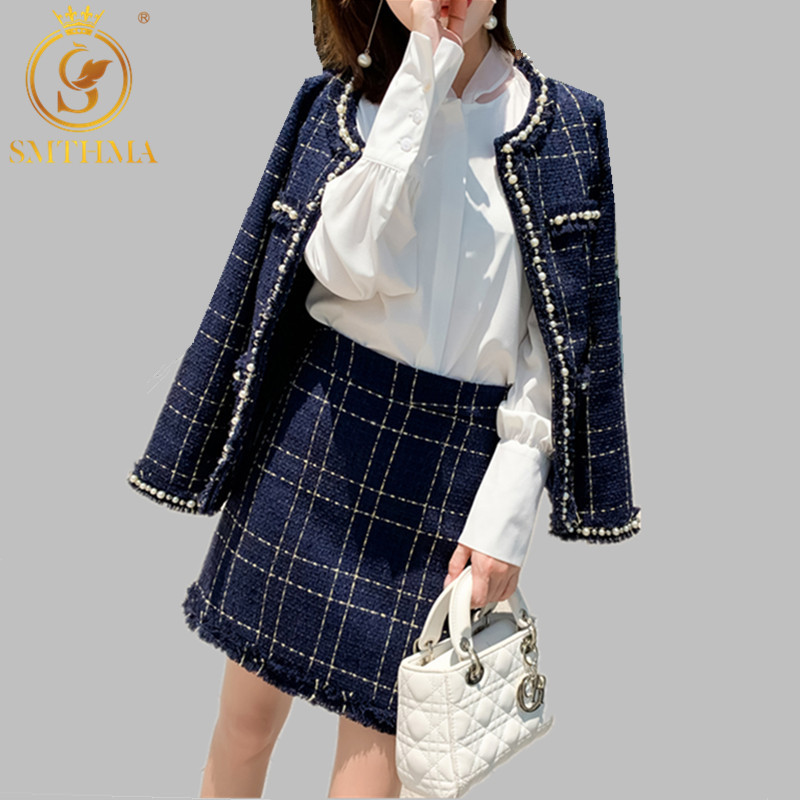 SMTHMA New Winter Fashion Beading Tweed Plaid Jacket Coat Womens Two Piece Sets 2019 Elegant 2 Piece Women Skirt Set