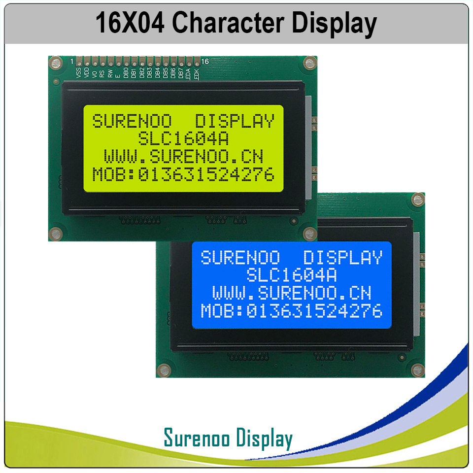 <font><b>1604</b></font> 16X4 164 Character <font><b>LCD</b></font> Module Display Screen LCM Yellow Green Blue with LED Backlight Build-in SPLC780D Controller image