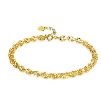 Glitzy Sparkling 18K True Solid Genuine Gold AU750 Yellow Phoenix Tail Chain Bracelet for Women Girl Party Fine Upscale Jewelry 1