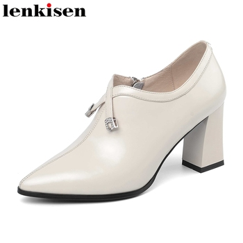 Lenkisen classic black white color pumps natural leather pointed toe high heels rhinestone decorations office lady shoes L79