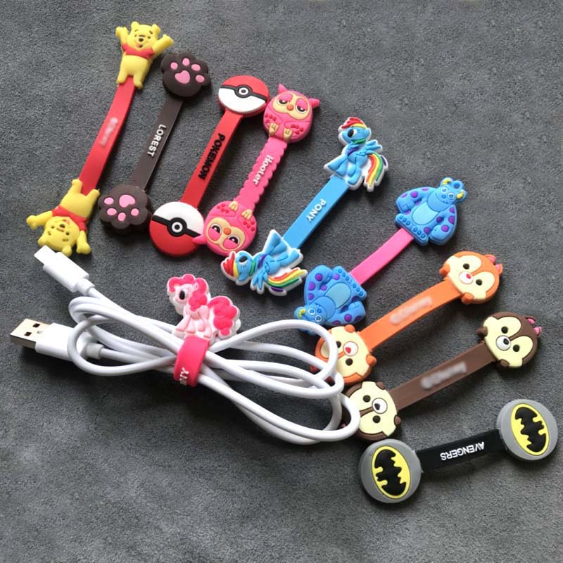Cable Organizer Cartoon Bobbin Winder Little Pony Protector Wire Cord Management Marker Holder Cover For Earphone USB