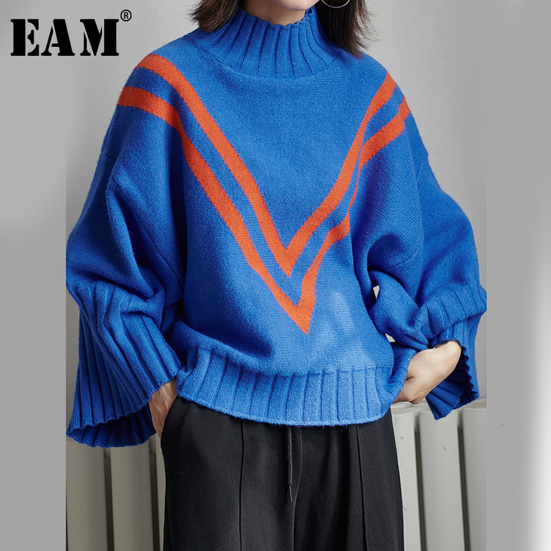 [EAM] Blue Striped Big Size Knitting Sweater Loose Fit High Collar Long Sleeve Women New Fashion Tide Autumn Winter 2019 1D861