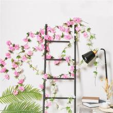 2.35m cherry blossom branch rattan simulation flower wedding decoration home party plastic artificial fake