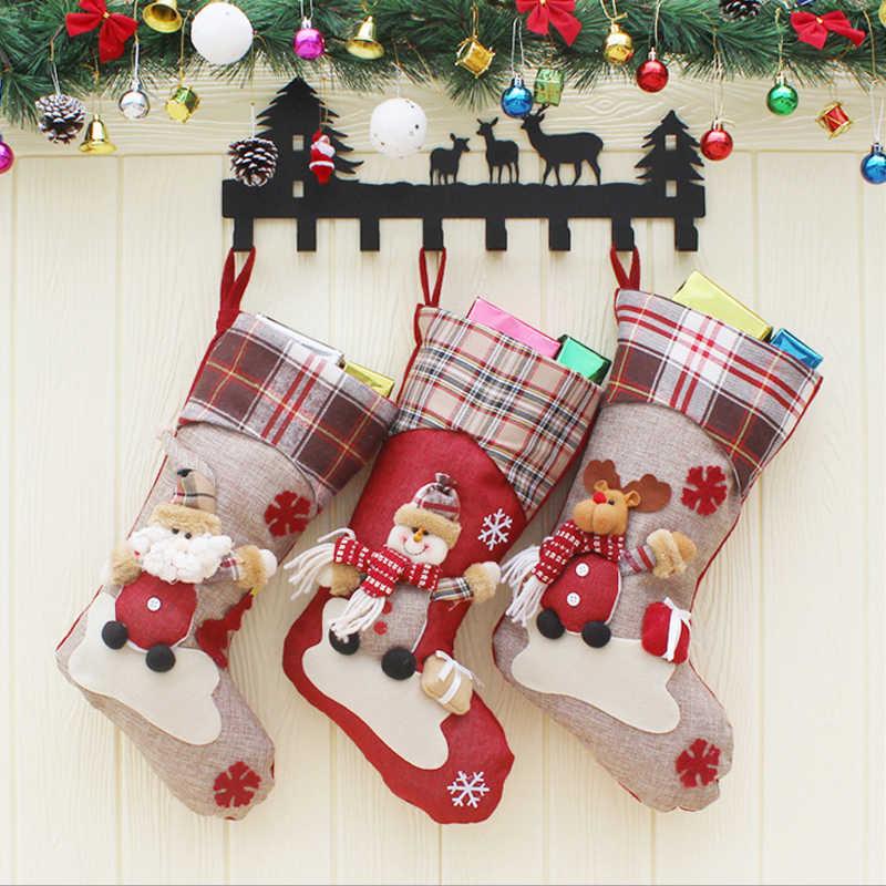 Kaus Kaki Natal Hadiah Pakaian Santa Elk Kaus Kaki Chirstmas Hadiah Yang Indah Tas untuk Anak-anak Perapian Dekorasi Permen Hadiah Tas