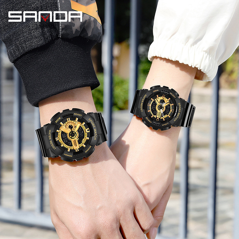 New Shining Black Gold Couple Fashion Watch Women Men Military Army Sport Watches LED Digital Wristwatches Lovers Watch With Box