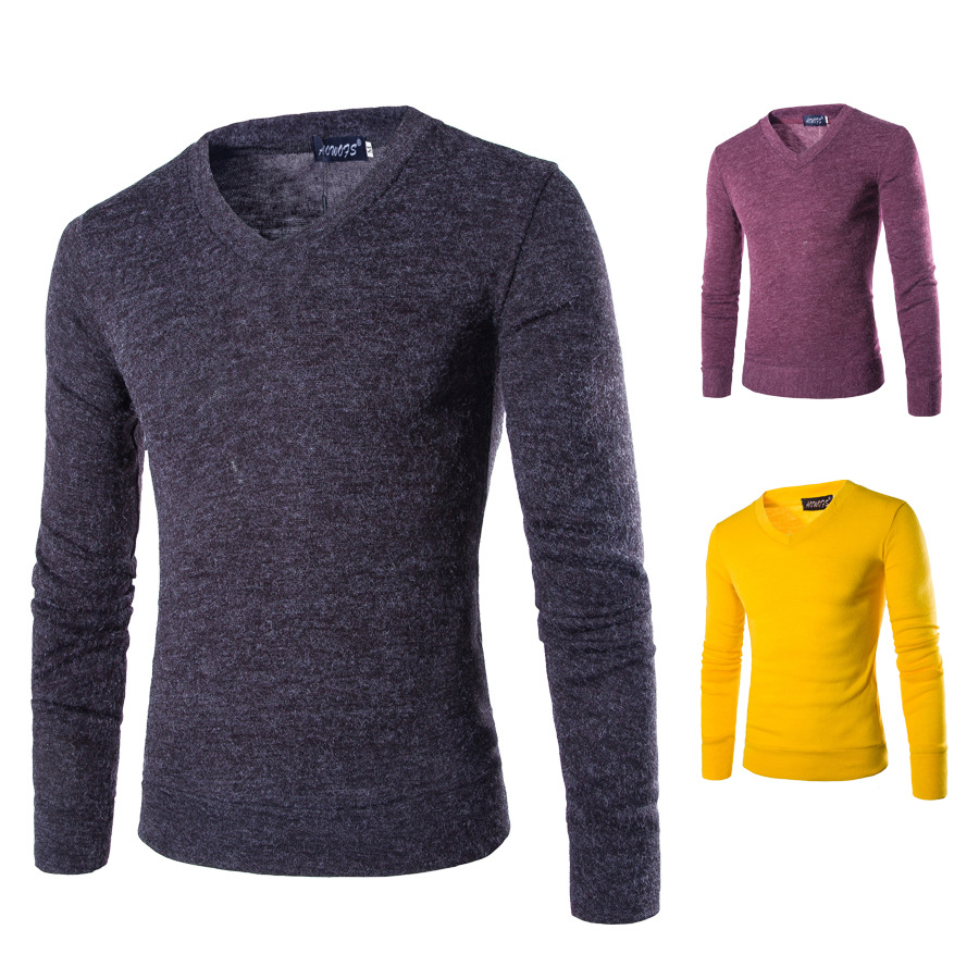 2019 Men Pullovers Long Sleeves Autumn Winter Thin Warm Bottoming Shirts Solid V-neck Knitted Casual Slim Fit Sweaters Plus Size