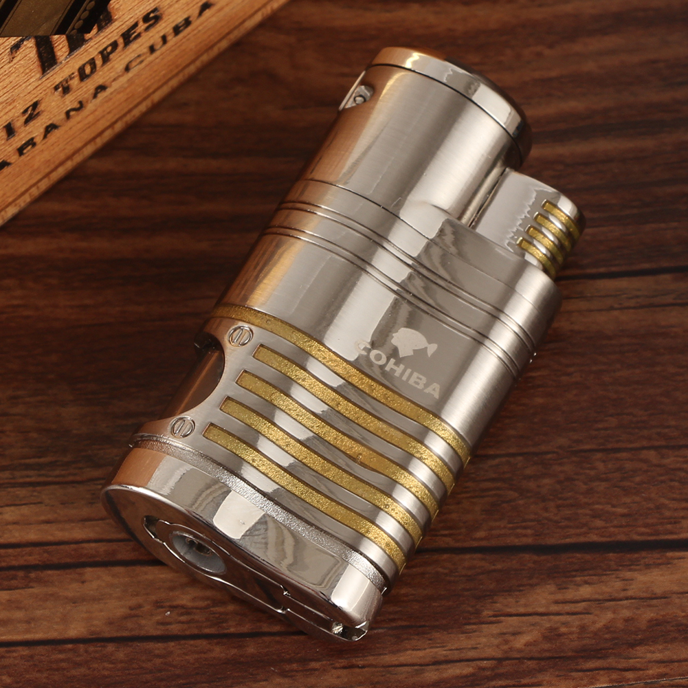 COHIBA  Metal Pocket Cigar Lighter Windproof Luxury 4 Jet Lighter Torch Butane Portable Cigarette Gas Lighters Cigar Accessories