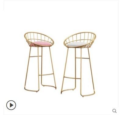 Bar Chair, Iron Chair, Golden Footstool, Nordic Simple Bar Chair, Leisure Chair, Modern Dining Chair, Wire Chair