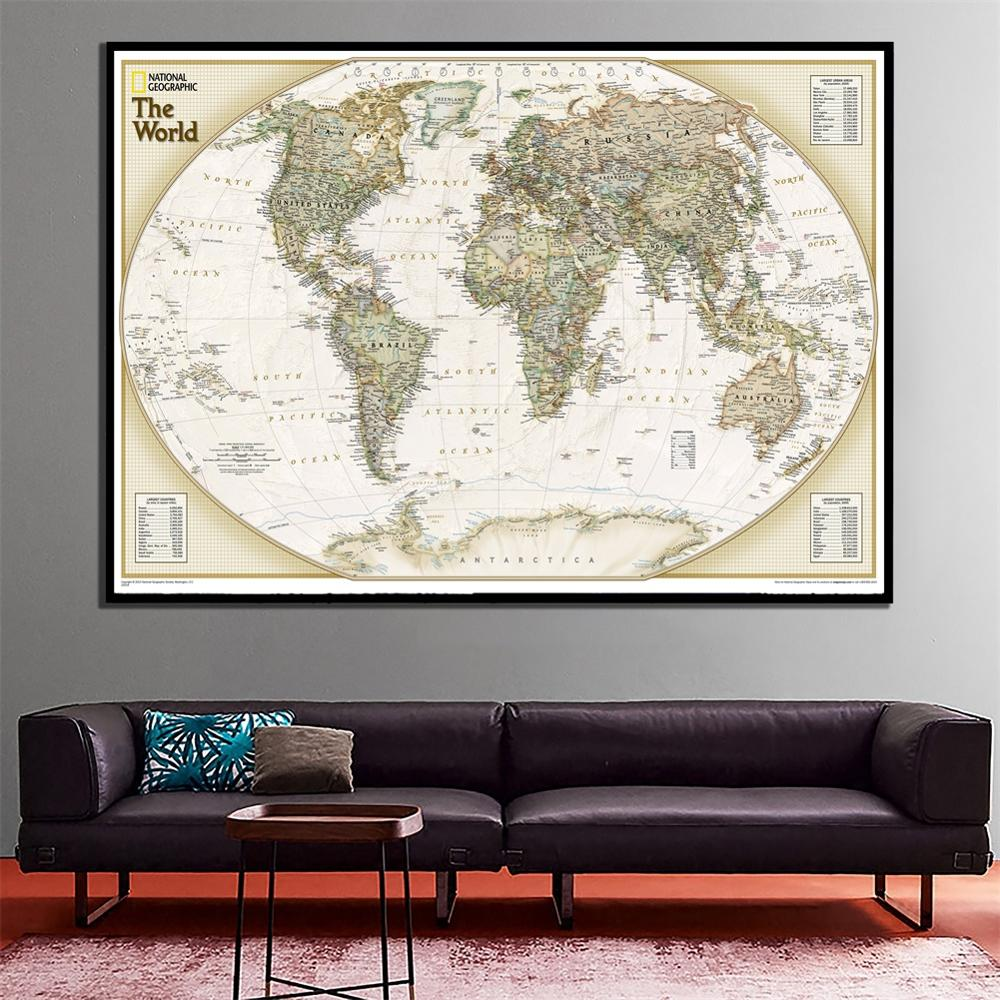 A2 Size The Physical Map Of The World 2010 Version Waterproof Fine Canvas Vinyl Spray Wall Map For Home Crafts Office Wall Decor
