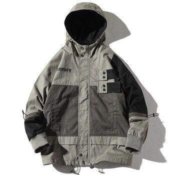 Spring Autumn Hooded Jackets Men Streetwear splice Jacket Hip Hop Long Sleeve Coat Pocket Windbreaker Male Bomber Jackets Men